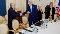 US Secretary of State John Kerry shakes hands with top Iranian nuclear official Ali Akbar Salehi on June 30, 2015, in Vienna, Austria. (US State Department)