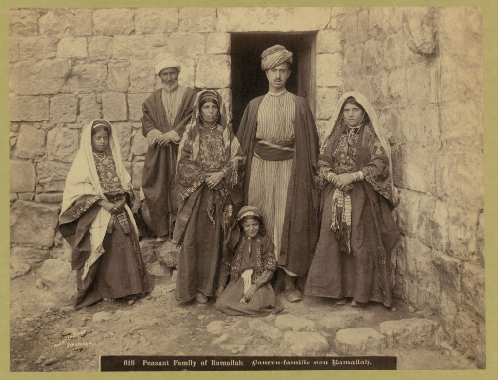 An Arab family of Ramallah, 1900-1910. Most Arabs lived in the hill towns of Palestine, away from the coastal lowlands where Zionist activity would first take root. (Courtesy of Matson Collection, Library of Congress/ via JTA)