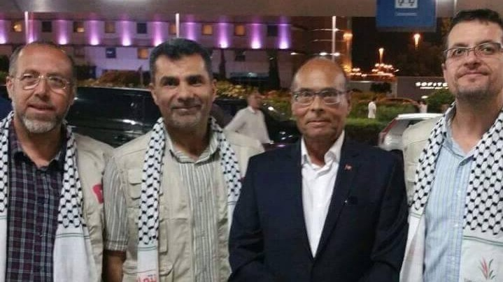 Former Tunisian president Moncef Marzouki (second from right) and pro-Palestinian activists prepare to board a flotilla headed for Gaza, June 21, 2015 (Moncef Marzouki official Facebook page)
