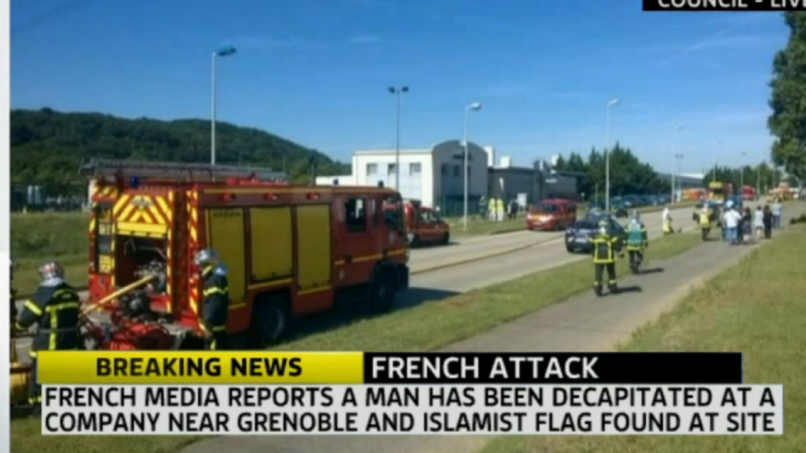 Scene of suspected terror attack in Grenoble, France, June 26, 2015 (Sky News Screenshot)