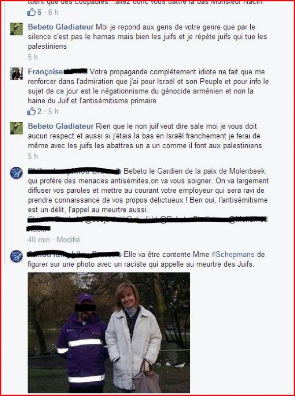 Belgian police officer Mohamed N.'s anti-Semitic threats on Facebook, under pseudonym Bebeto Gladiateur. He is pictured with Molenbeek's mayor Françoise Schepmans in the screenshot. (screenshot, Facebook via Le Soir)