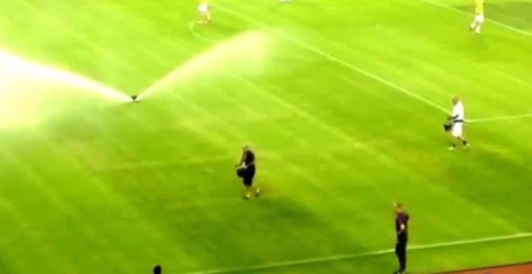 Swastika pattern depicted on pitch during Croatia vs ...