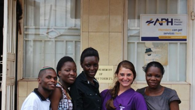 D'vora Biderman (second from right) with residents of Uganda's Abayudaya Jewish community. Courtesy of D'vora Biderman