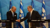 Israeli Prime Minister Benjamin Netanyahu, right, meeting French Foreign Minister Laurent Fabius in Israel, June 21, 2015. JTA