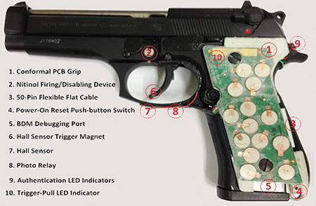 Smart guns rely on internal sensors, shown here, that pick up biometrical data.
