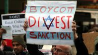 "Protesters evoking the ""BDS"" brand. Via wikimedia.org"