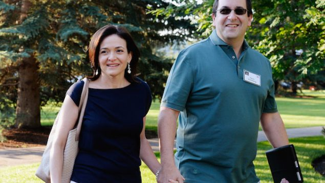 Facebook COO Sheryl Sandberg with her late husband Dave Goldberg at a media and technology conference in Sun Valley, Idaho. JTA