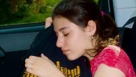 Wake me when it's over: Doria Leibowitz sleeping in the car after a grueling round of college tours.