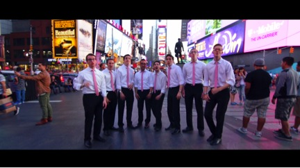 """The Ystuds perform """"Hashem Melech"""" in Times Square. Courtesy of Ystuds"""