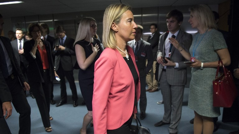 Federica Mogherini, High Representative of the European Union for Foreign Affairs and Security Policy arrives for the last plenary session at the United Nations building in Vienna, Austria July 14, 2015. (Joe Klamar/AFP)