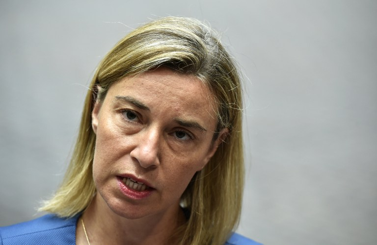 High Representative of the Union for Foreign Affairs and Security Policy, Federica Mogherini speaks to journalists during a Foreign Affairs meeting at the European Union headquarters in Brussels on July 20, 2015. (AFP PHOTO/JOHN THYS)