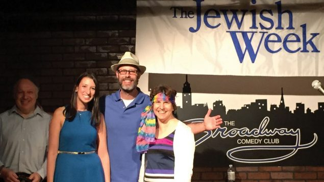 Contest winners, from left, Roy Schaeffer, Belinda Boxer, producer Geoff Kole, and Rena Blech. Courtesy of Broadway Comedy Club