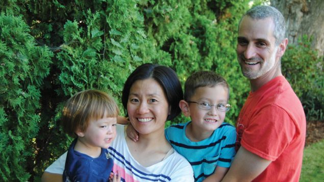 Helen Kim and Noah Leavitt, parents in an Asian-Jewish family, have pioneered study of such intermarriages.   Kim-Leavitt family