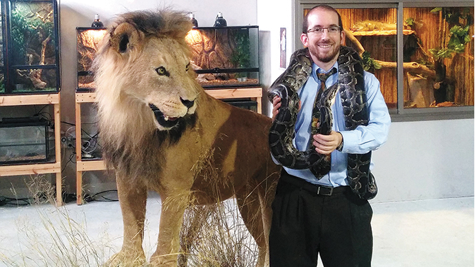 At his Biblical Museum of Natural History, Rabbi Nathan Slifkin shows off live reptiles and stuffed large mammals.