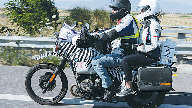 Elen Katz and Catherine Lurie-Alt ride in a motorcycle rally from Israel to Berlin for the opening of the European Maccabi Games. (Yosef Alony)