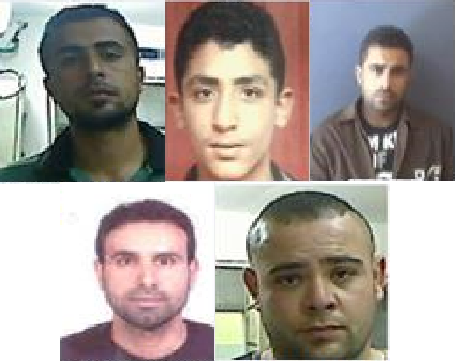 Images of five suspects involved in a deadly shooting in the West Bank in June 2015 that left one Israeli dead. Clockwise from top left: Muhammad Abu Shahin, Ashraf Omar, Amjad Eduan, Asamah Assad, Muhammad Eduan
