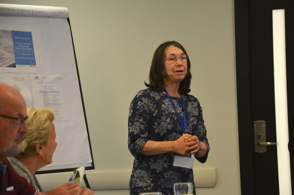 Co-organizer of the first International Bible Study Week in Jerusalem Rev. Dr. Petra Heldt lectures on July 7, 2015. (Sharon Altshul)