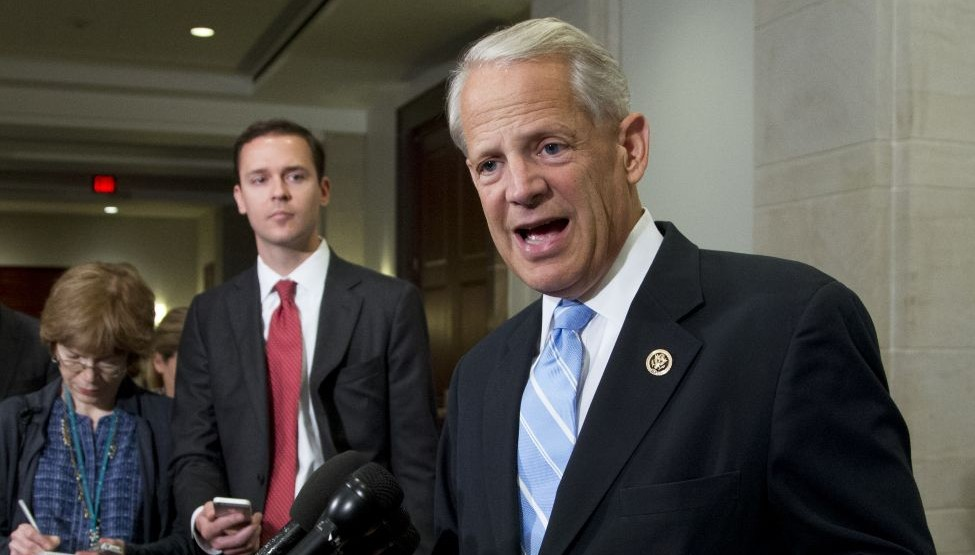 Rep. Steve Israel, D-New York, speaks to reporters on Capitol Hill in Washington after attending a meeting with Vice President Joe Biden and the House Democratic Caucus to talk about the Iran nuclear deal, July 15, 2015. (AP/Manuel Balce Ceneta)