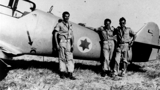 Lou Lenart (left) and other fighter pilots in front of Avia S-199