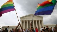 Same-sex marriage supporters celebrate in front of the Supreme Court the day of the landmark ruling. Getty Images