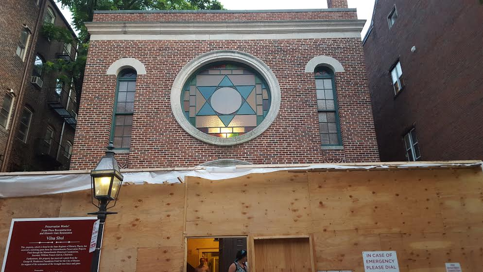 As seen on July 17, 2015, the exterior of Boston's so-called Vilna Shul undergoes restoration. Located on the backside of historic Beacon Hill, the 1919-built synagogue has been the home of Boston's Center for Jewish Culture since 1995. (photo credit: Matt Lebovic/The Times of Israel)