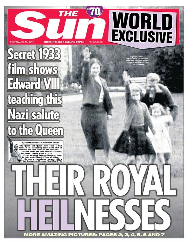 The Sun's 'Their Royal Heilnesses' front page, July 18, 2015