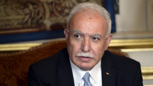 Palestinian Authority Foreign Minister Riyad al-Malki at a meeting with his French counterpart at the Quai d'Orsay in Paris, August 18, 2015 (AFP/Miguel Medina)