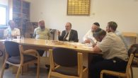 Rabbi Nahum Rabinovitch, center in suit, during a session of the new conversion court. Courtesy of Itim