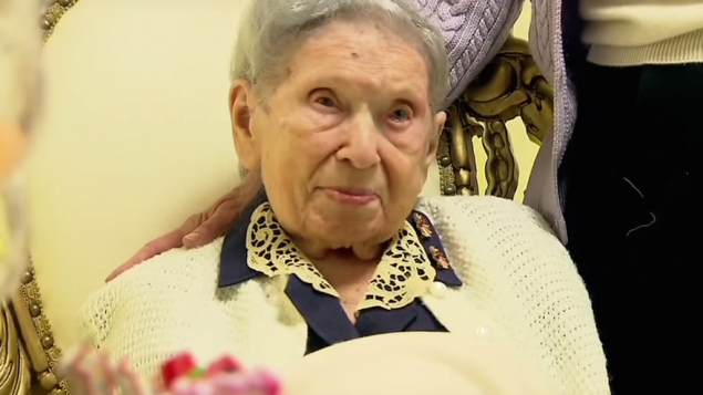 Goldie Steinberg celebrating her 112th birthday in Long Beach, New York, on Jan. 13, 2013. JTA