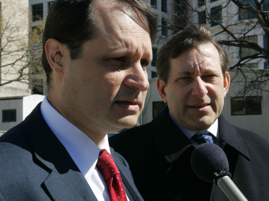 Defense attorneys Eliot Lauer, right, and Jacques Semmelman, representing convicted Israeli spy Jonathan Pollard speak to reporters outside the U.S. Courthouse Tuesday, March 15, 2005 in Washington. (AP Photo/Charles Dharapak)