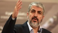 Hamas leader Khaled Mashaal speaks in Doha, Qatar, August 28, 2014 (AP/Osama Faisal)