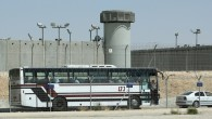 A bus standing outside the Ketziot Prison on August 03, 2009. (Moshe Shai/FLASH90)