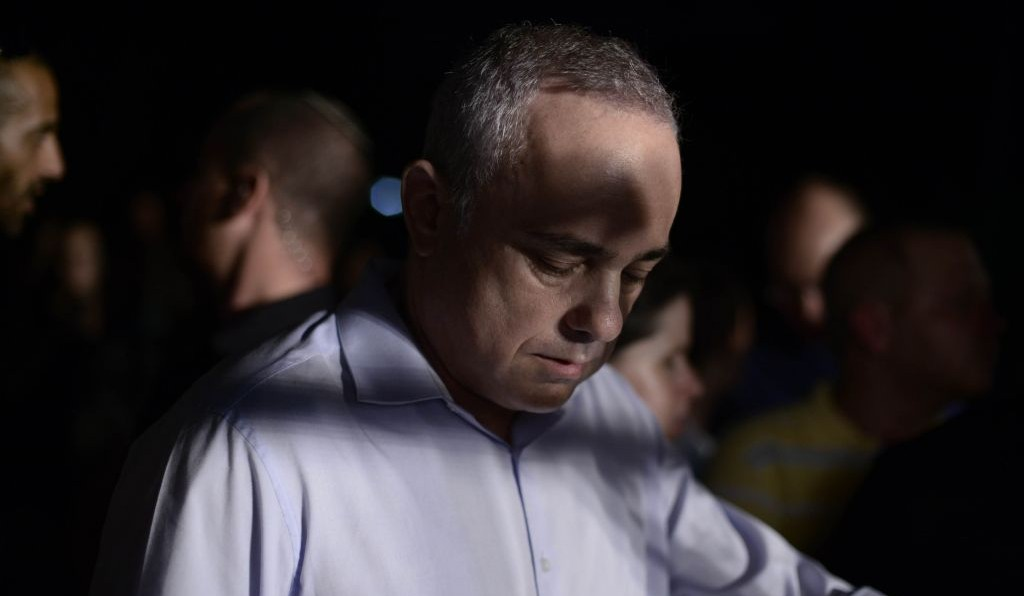 Likud minister Yuval Steinitz pictured at an anti-violence and anti-homophobia ralliy, attended by thousands, in Tel Aviv, on August 01, 2015 (Photo by Tomer Neuberg/FLASh90)