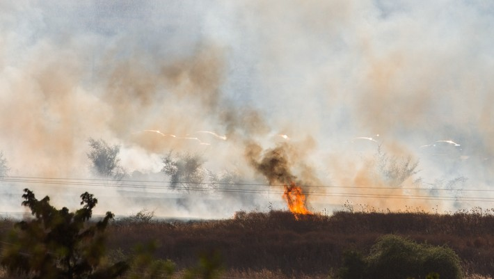 A large fire raging near Kfar Sold, caused by missiles fired from the Syrian side of the Israeli-Syrian border and hitting open areas in the Golan Heights in northern Israel on August 20, 2015. (Photo by Basel Awidat/Flash90)