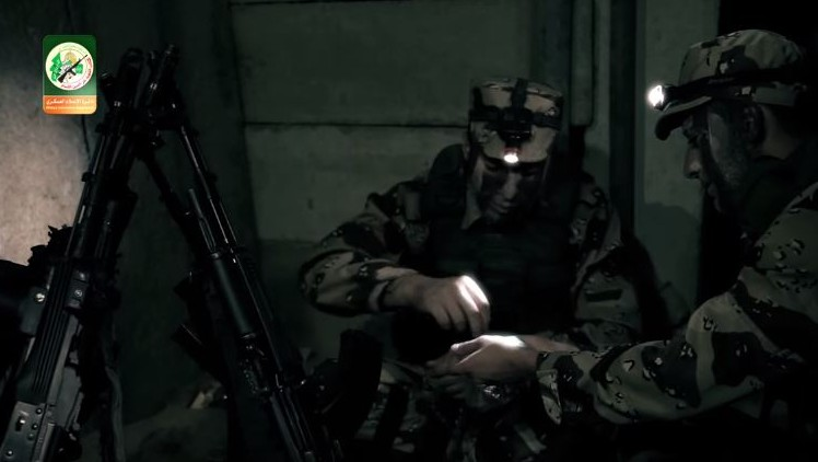 Hamas members seen in a tunnel in an Izz ad-Din al-Qassam Brigade promotional video. (YouTube)