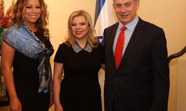 Mariah Carey (left) with Benjamin and Sara Netanyahu during their 2015 trip to Israel. Carey was engaged to Australian media mogul James Packer in 2016