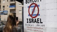 A sign calling for the boycott of Israeli products in Bethlehem. Getty Images