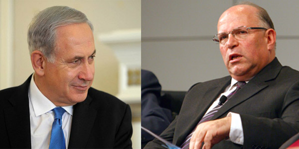 Israel Prime Minister Benjamin Netanyahu; left,  right; former national security adviser to Netanyahu Uzi Arad.