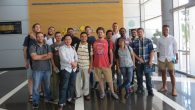 The 16 TIP participants pose for a group shot at the Beersheva Cyber Park. Courtesy of Hebrew University