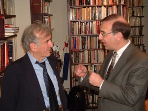 Rabbi Sid Schwarz in conversation with Elie Wiesel. Via rabbisid.org
