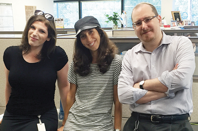Because Ms. Mizikovsky overlapped with Rabbi Ely Allen, she was able to learn from him. Here, at left, she stands with Rabbi Allen and his assistant, Andrea Nissel.