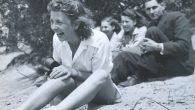 Roosje Glaser, left, with her dance students during an excursion in 1942. JTA