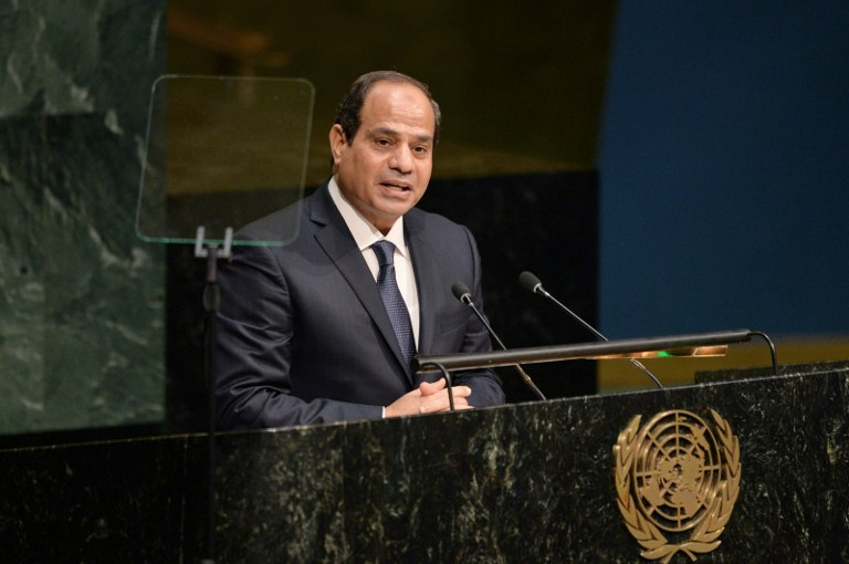 Egyptian President Abdel-Fattah el-Sissi, speaks at the United Nations Sustainable Development Summit in New York, September 25, 2015. (AFP Photo/Dominick Reuter)