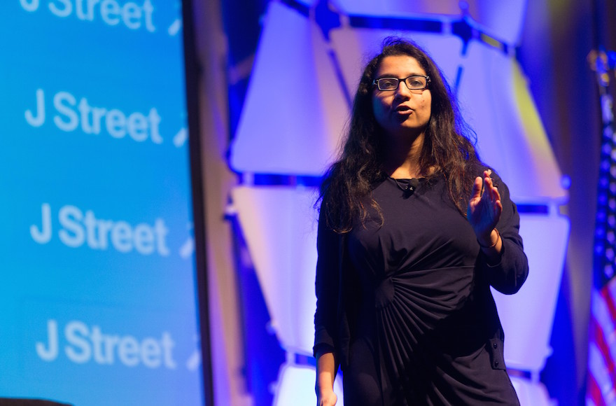 Amna Farooqi speaking at J Street's national conference in March 2015. (Courtesy of J Street/JTA)