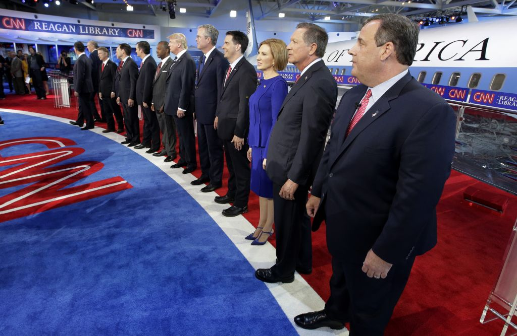 take the stage during the CNN Republican presidential debate ...