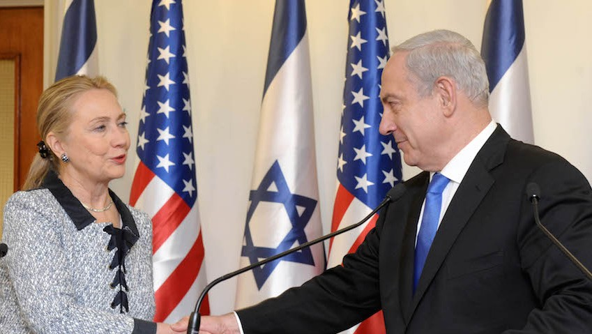 Prime Minister Benjamin Netanyahu (right) meets US secretary of state Hillary Clinton at the Prime Minister's Office in Jerusalem, November 20, 2012. (Avi Ohayon/GPO via Getty Images)