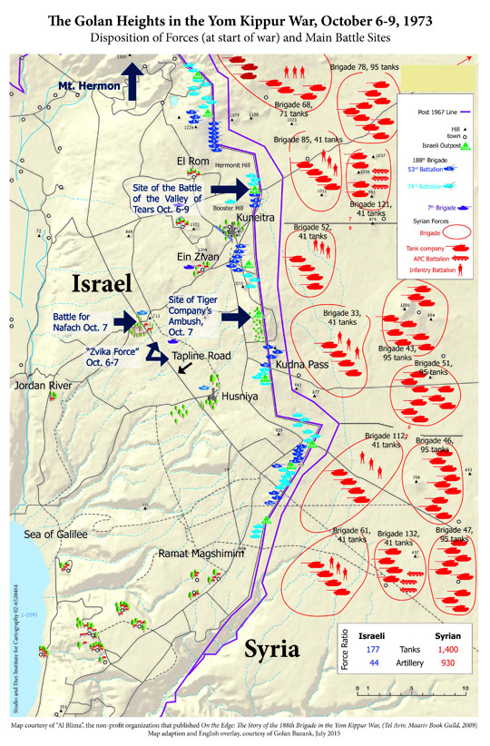 Golan Heights Israel  City pictures : Map of the Golan Heights campaign in the Yom Kippur War in 'From ...