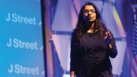Amna Farooqi speaking last March at J Street's national conference. Couresy of J Street