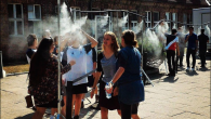 Mist showers outside the Auschwitz memorial museum were meant to cool visitors, not heat them up. JTA