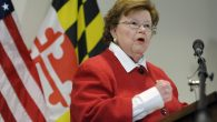 Barbara Mikulski (D-Md.) speaking at a press conference in Baltimore on March 2, 2015. JTA